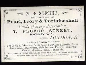 Victorian Trade Card LONDON, A. Street, Manufacturer Pearl,Ivory & Tortoiseshell