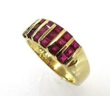 14K YELLOW GOLD GENUINE RUBY PRINCESS CUT SIX ROW BAND RING SIZE 7 - 4.8gr