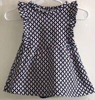 Carter's Baby Girl's Sz 3M Dress Sleeveless Navy Blue White Flowers Diaper Cover