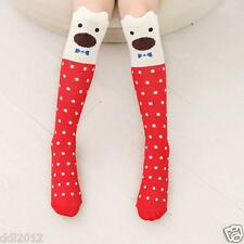Lovely Kids Girls Toddlers Cute Pattern Knee High Cotton Socks for 3-7 childs US