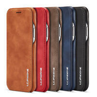 Vintage Slim Magnetic Flip Stand Leather Back Case Cover For Apple iPhone 7 8 X