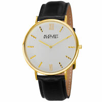 Men's August Steiner AS8166YG Ultra Slim Quartz Genuine Leather Strap Watch