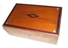 Antique Anglo indien en teck et laiton incrusté Vanity BOX Poitrine Avec Ajusté Intérieur