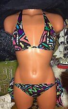 Itsy Bitsy Victoria Secret A B Swimsuit Gold Jewel Neon Posing String Bikini S