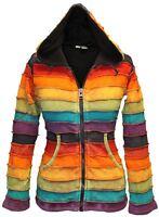 Fleece Lined Rainbow Stripy Hippie Hoodie Women Festival Winter Goth Cardigan