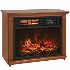 Large Room Infrared Quartz Electric Fireplace Heater Honey Oak Finish w/ Remote