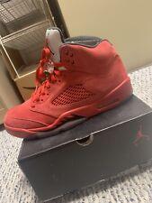 Nike Air Jordan 5 Retro Red Suede Black 136027-602 Size 10