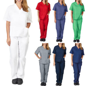Women Nurse V-Neck Top Long Pants Doctor Workwear Scrub Set Uniform Set