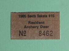 1985 South Dakota Resident Archery Bow Deer Hunting License Permit Stamp