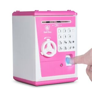 Toy Piggy Bank Safe Box Fingerprint ATM Bank Savings Bank - Pink