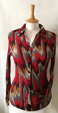 Ladies red multi chiffon zig zag print blouse by M&S 12