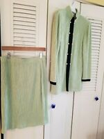 ST. JOHN COLLECTION BY MARIE GRAY  SANTANA KNIT LIME GREEN SKIRT SUIT,SIZE 10/12