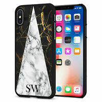 Personalised Marble Initials Phone Case Cover For iPhone Samsung Huawei B068-5