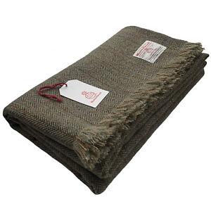 Harris Tweed Green & Fawn Herringbone Pure Wool Large Throw Blanket 150x200cm