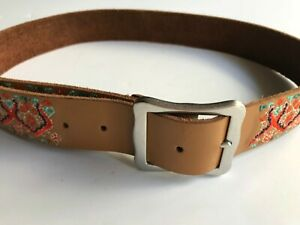 Lucky Brand Leather Tapestry Belt   Size Small