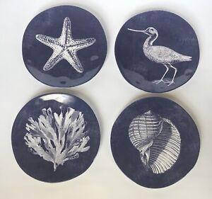 "New Tommy Bahama Melamine 8.5"" Salad Plates Blue Bird Shell Coastal Set Of (4)"