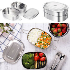 2 Tier Bento Lunch Box Stainless Steel 1L Food Picnic Storage Container Travel