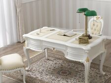 Executive writing desk Diana Chippendale Decape style 130 cm ivory and gold leaf