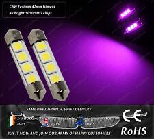 41mm 42mm Festoon C10W C5W LED SMD Purple License Number Plate Lights Bulbs 12v