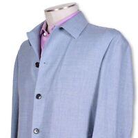 NWT Belvest Light Blue Wool Linen Four Button Shirt Jacket NICE 40 40r