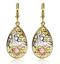 filigree Cz woman earrings E-A443 18k rose/white/yellow gold filled Gf