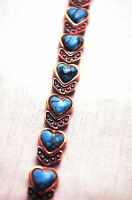 LADIES 7.25 IN COPPER & TURQUOISE HEARTS MAGNETIC THERAPY BRACELET: For Pain!