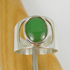 Dark Green Chrysoprase Gemstone Wide Band Ring Genuine 925 Sterling Silver