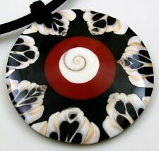 """2.2"""" Round Cone Shell Shiva Eye Pendant and 17.5"""" Cord necklace ; BA126"""