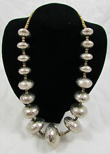 Vintage 60's - 80's Era Hammered Silvertone Graduated Oval Beads Necklace