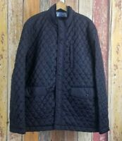 Johnston & Murphy Men's Quilted Black Lined Jacket Sz XXL Snap Button Zip Front