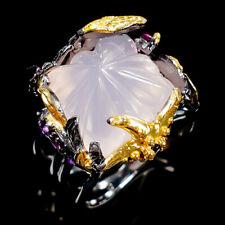 Vintage11ct+ Natural Rose Quartz 925 Sterling Silver Ring Size 8/R108844