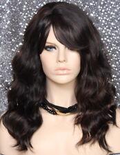 Human Hair blend Full Wig Black mix Long Wavy Hairpiece Heat friendly NWT