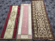 3 Antico 19TH-Secolo Francese Valance altare Panno in velluto + Seta bordo metallico