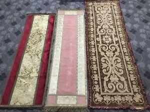 3 ANTIQUE 19TH-CENTURY FRENCH Valance Altar Cloth Velvet+ Silk Metallic Border