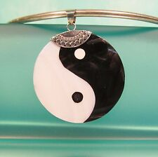 """1 1/2"""" White Mother of Pearl Shell Ying Yang Handmade Pendant Sterling Silver"""