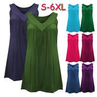 S-6XL Women Summer Sleeveless V-Neck Shirt Blouse Tops Loose Casual T-Shirt