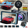 "4"" 1080P Dual Lens Car DVR Front and Rear Camera Video Recorder Dash Cam 170°"