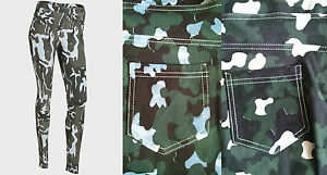NEW LADIES EX CHAINSTORE JEGGINGS/ LEGGINGS/ TROUSERS CAMOUFLAGE PRINT SIZE S-L