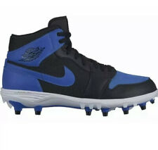 AIR JORDAN 1 TD MID FOOTBALL CLEATS RETRO BLACK ROYAL BLUE WHITE SZ 9