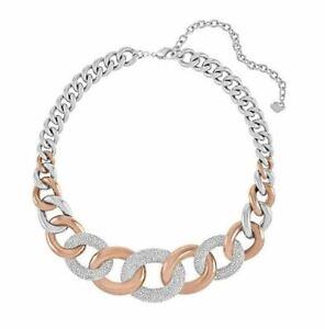 NIB $399 Swarovski Bound Large Necklace Rose Gold & Palladium Plated #5089276