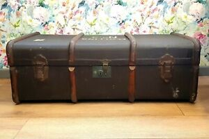 ANTIQUE VINTAGE BENTWOOD STEAMER TRUNK STORAGE CHEST COFFEE TABLE TOY BOX