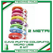2 Metri 2m Cavo Dati PIATTO MICRO USB - SAMSUNG NEXUS LG HTC