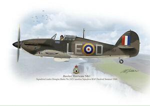 Hawker Hurricane Aircraft  Profile Artwork A4/A5  Douglas Bader in Flight Print