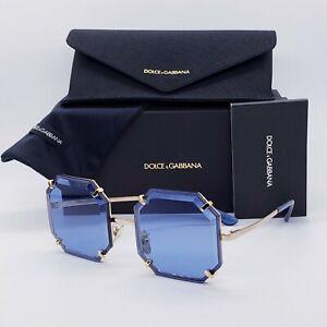 🍀DOLCE & GABBANA DG2216 GEM Stone Gold Blue Octagonal Geometric Sunglasses