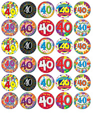 40th Birthday Mixed x 30 Cupcake Toppers Edible Wafer Paper Fairy Cake Toppers