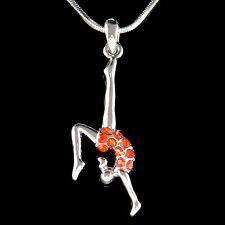 w Swarovski Crystal ~Hot Red Gymnastic Gymnast~ Acrobat Contortion Necklace New