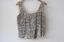George Gross Vintage Sequined Top blouse Tank Singlet Silk/ Linen - Size 12 AUS