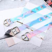 Punk Style Transparent Laser Holographic Women Fashion Belt Wide Waist Waistband