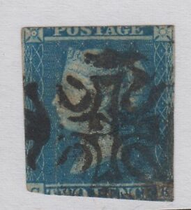 GB QV 2d Blue SG14 Two Pence Number 12 in Maltese Cross MX 1841-51 Used