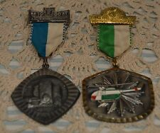 TWO 1980 MEDALS AND RIBBONS~LOOK GERMAN~INTERESTING~ENAMEL HELICOPTER~NO HISTORY